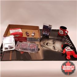 Tray Lot: Dale Earnhardt Jr. Collectibles including (Coffee Cup, Beanie Baby, Coasters, 1/64th Scale