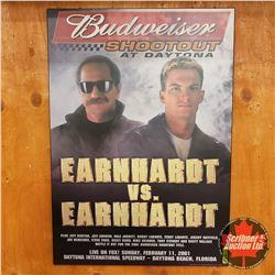 "Hard Board Print 19 x 27 Earnhardt vs Earnhardt ""Budweiser Shoot Out at Daytona"""
