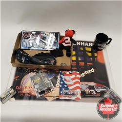 Tray Lot: Dale Earnhardt Collectibles including (Fanny Pack, Coffee Cup, Beanie Baby, Lic Plate, 1/6