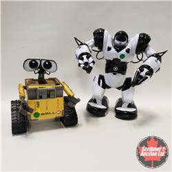 "2 Robots : Wall-E 10""H & White Robot 14""H"