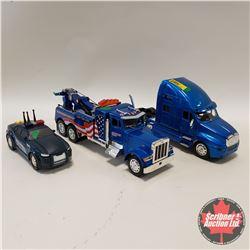 Kenworth Semi Truck, Peterbilt Tow Truck & Tonka Police Car