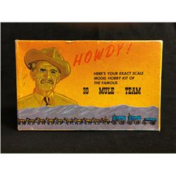 VINTAGE BORAX HOWDY 20 MULE TEAM MODEL KIT BOX HORSE AND CARRIAGE