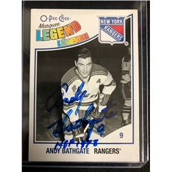 ANDY BATHGATE SIGNED O-PEE-CHEE MARQUEE LEGENDS HOCKEY CARD