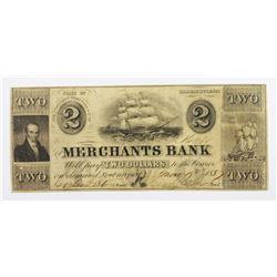 1857 $2 MERCHANTS BANK NEWBURYPORT, MASS.