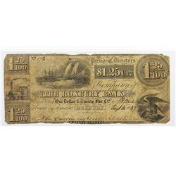 1837 $1.25 FRACTIONAL ROXBURY BANK, MASS.
