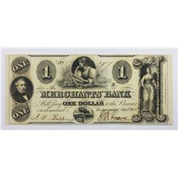 1852 MERCHANTS BANK $1 WASH., DC