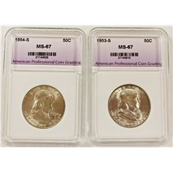 1954-S AND 1953-S FRANKLIN HALF DOLLARS
