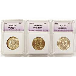 1952, 1952-D AND 1953-D FRANKLIN HALF DOLLARS