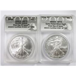 2008-W AND 2008 AMERICAN SILVER EAGLES