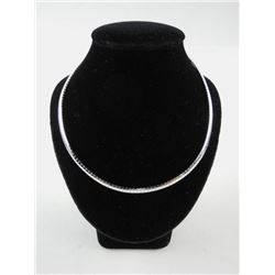 Silver Choker Necklace Herringbone Design