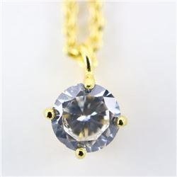 18kt Gold Plated Necklace 1 Carat Solitaire Swarov