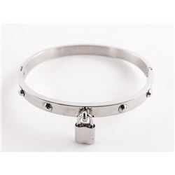 Silver Bangle with Lock Pendant