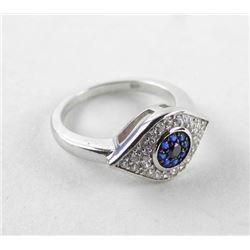 925 Silver Ring Size 6 Evil Eye with Swarovski Ele