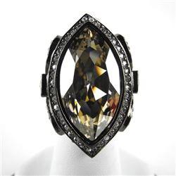 Ladies MMcrystal Ring with Black Gold Plating. 1 B