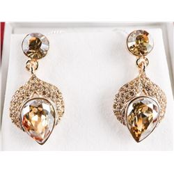 Ladies Earrings with Pear Cut, Round Cut and Radia