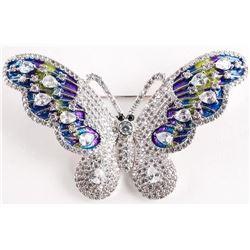 925 Silver Butterfly Pin Swarovski Elements