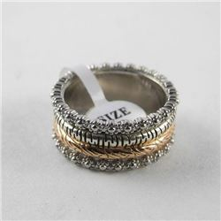 925 Silver Tri Colour Band Ring Size 7, Center Spi
