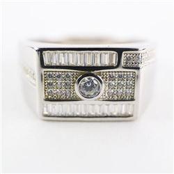 Gents 925 Silver Ring Size 10 Baguette Swarovski E