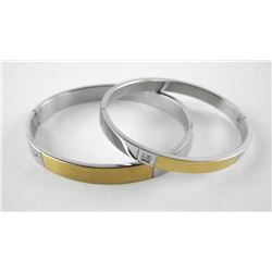 His and Hers Matching Bangle Cuff Bracelets with S