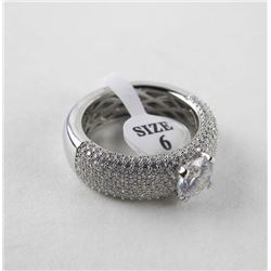 925 Silver Ring Size 6 Solitaire with Pave Setting