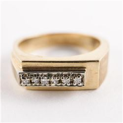 Estate Gents 10kt Gold 6 Diamond Ring. Size 9.5 6.