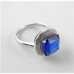 925 Silver Ring Size 8 Cushion Cut Sapphire Blue S