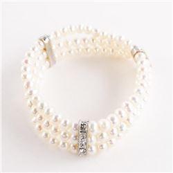 925 Silver Triple Row Bracelet Pearls with Swarovs
