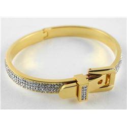 18kt Gold Plated/925 Silver Bangle Bracelet Set wi