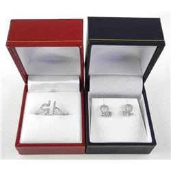 925 Silver Matching Earring and Ring Set Size 7 wi