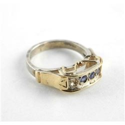 9kt Yellow Gold Ring with Gold and Silver. 3 Prong