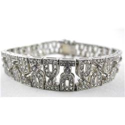 Estate 925 Silver Bracelet Hand Set Swarovski Elem