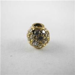 Estate 10kt Gold Ball Pendant with 42 Swarovski El