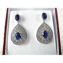 925 Silver Drop Earrings Pear Shape 2 Tier with Ov