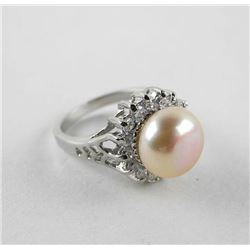 925 Silver Ring Size 5.5 Pearl with Swarovski Elem