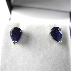 925 Silver Earrings Pear Shape Studs Sapphire blue