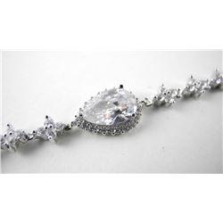 925 Silver Bracelet Pear Shape Center Cluster Brac