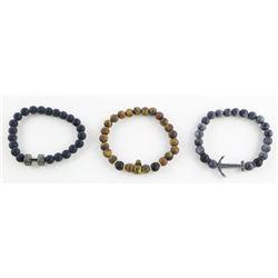 Lot (3) Gents Lava Stone Bead Bracelets
