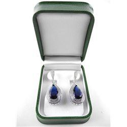 925 Silver Fancy Earring Pear Cut Sapphire blue Sw