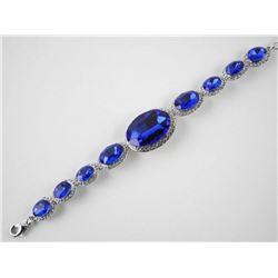 925 Silver Fancy Bracelet 9 Oval Shape Swarovski E