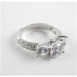 925 Silver Ring, Size 5.5 3 Swarovski Elements Sto