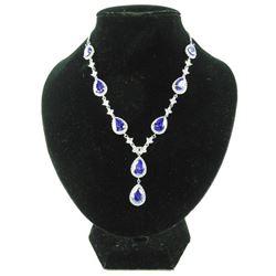 925 Silver Necklace fancy Pear Shape Tanzanite Swa