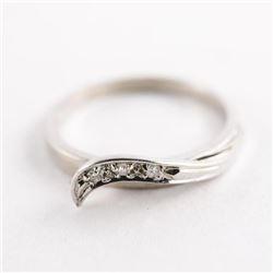 Estate Ladies 10kt White Gold Swirl, Diamond Ring.