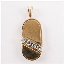 Estate 10kt Gold 4 Diamond pendant
