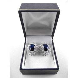 925 Silver Cluster Earrings Oval Sapphire Blue Swa
