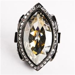 Ladies MMcrystal Ring with Black Gold Plating with