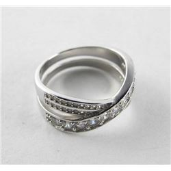 925 Silver Ring Size 7.5 'Love Knot' with Swarovsk