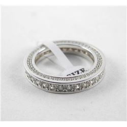 925 Silver Ring Size 7 Bead and Micro Pave Swarovs