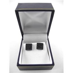 Gents Stud Earring Black Swarovski Elements