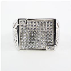 Gents .925 Silver Swarovski Element Ring.