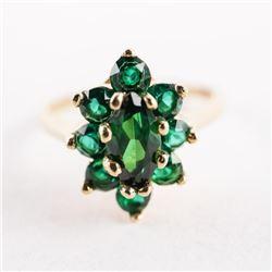 Estate Ladies 10kt Gold Marquise Cluster Ring. siz